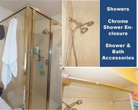 Bath Shower - Nichol glass shower enclosure, shower rods and shower heads