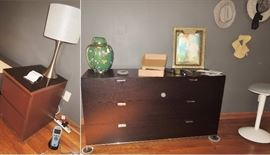 cantoni dresser.  Two side tables.  Lamps and decor