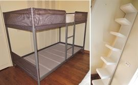 Bunk bed frame - one twin mattress.  Wall shelf