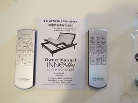 Innova King size (2 Twin XL) fully adjustable bed with wireless remotes. No mattress - base only