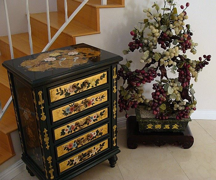 Painted Asian Cabinet and Very large Jade, glass and marble Tree!