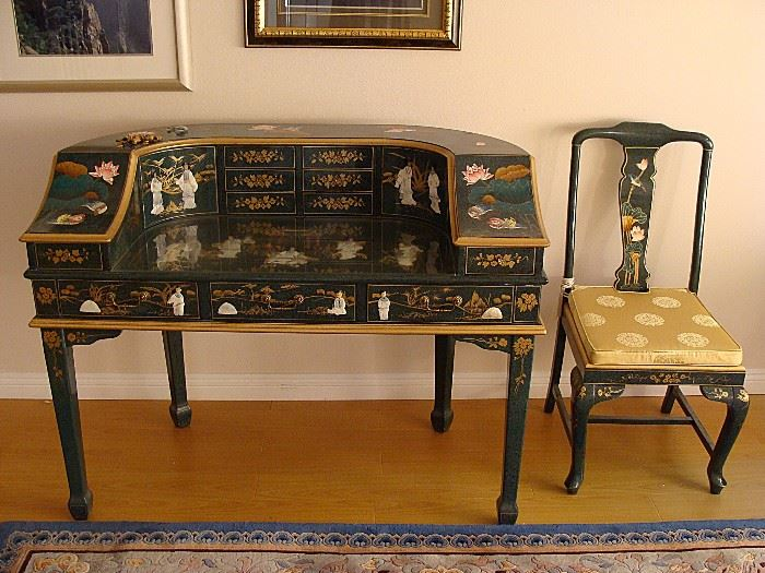 Wonderful Asian painted desk and matching chair