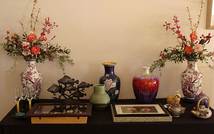 Several pieces of Cloisonne and other fine Asian decor