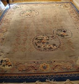Large Chinese wool sculptured rug-signed