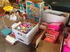 Barbie Dolls, Cases, Cars, Furniture