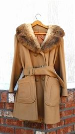 Vintage Wool Camel Hair Coat w/ Fox Fur Collar