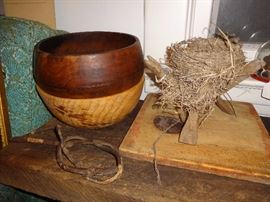 Turned wooden bowls; primitive twisted willow branch used for removing pots from fireplace.