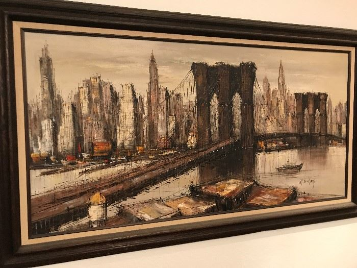 H. Marcel Duchamp original Mid Century Modern Oil Painting - Brooklyn Bridge New York