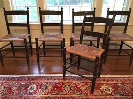 Set of SIX blade and stencil decorated side chairs, circa 1900