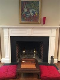 Inlaid Chess Table with Floor Cushions