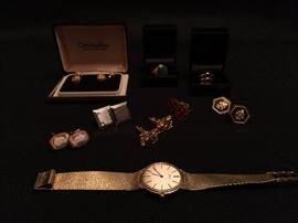 Men's 14K Gold Watch, Men's Rigs, Men's Cuff Links