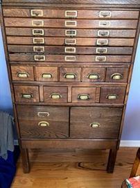 Rare oak map and catalog cabinet