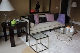 Beautiful Gray Sofa with Black Frame, Round Side Table, Metal & Glass Cube and Octagonal Coffee Table