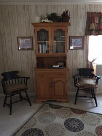 China Hutch, Antique wood chairs