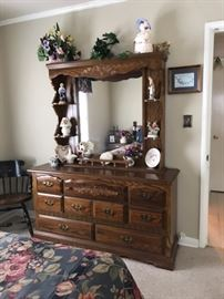 Vintage triple dresser with shelved dresser & mirro