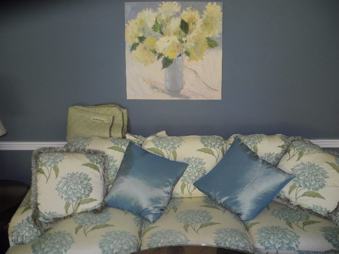 Silk pillows, lovely art