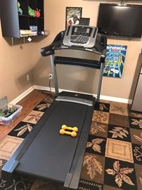 Like new NordicTrack C990 treadmill (can still be purchased online-check out the reviews on this model).  Also shown is large area rug in tans, browns and black colors.