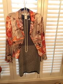 Designer dress, silk jacket, pearls