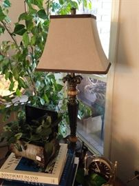 Lovely lamp, book, and decor