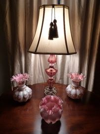 "Fenton ""Charleton"" vases, Fenton Beaded Melon vase, Cranberry cut to Clear glass Lamp"