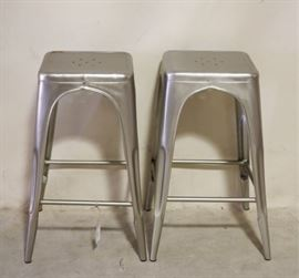 Pair galvanized stools