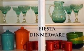 Fiesta, blown glass pitcher and glass set