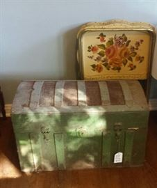 old trunk, metal tv trays
