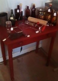 accessory red table, vintage kitchen items and bottles