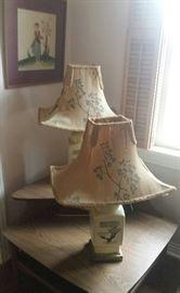 framed folk art, corner mid century table, oriental lamps with bonsai motif