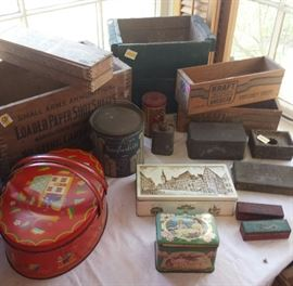 Ammo boxes, grocery store boxes, metal tins