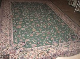 Oriental Rug, Star of India, Meshad, Green & Ivory 100% wool pile  8.6 x 11.6 feet   $2500  (Bids accepted above half price)