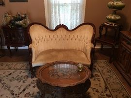 Antique French Victorian Sofa / Loveseat , Carved Wood Coffee Table w Glass Top