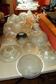 Large Collection of Antique Glass Lighting Shades.