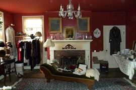 Antique Fainting Couch (Velvet) Lots of Wonderful Antique/Vintage & Victorian Clothing ,Hats & Accessories!