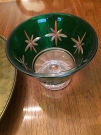 One of several green Waterford bowls