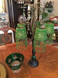 Victorian style candle holders with beaded green shades