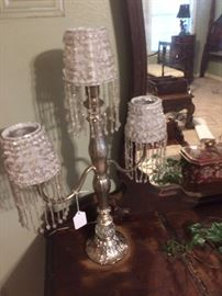 Victorian style candle holders with beaded white shades