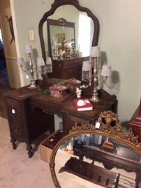 Antique vanity; matching candle holders  with white beaded shades; antique oval mirror