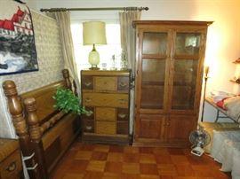 10 Gun Solid Oak Cabinet, Art Deco Queen Headboard And Foot Board, Art Deco Waterfall Chest Of Drawers
