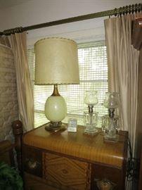 Mid Century Modern Lamp, Pair Of Crystal Prism Lamps