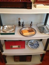 Collectible vintage radios among serving pieces!