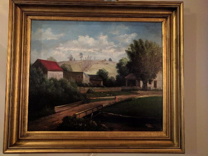 One of a pair of original oil paintings by William Hoffman (1924-1995) beautifully framed, with gallery lights.