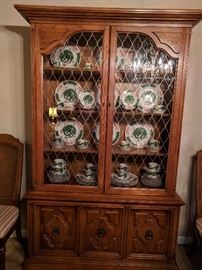 "The matching china cabinet, in the vintage Drexel ""Esperanto"" dining room."