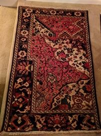 Vintage Persian Vaghireh rug, hand woven, 100% wool face, measures 3-4 x 5-4. This is a very unusual Persian rug, as it is a salesman's sampler for different weaving designs.
