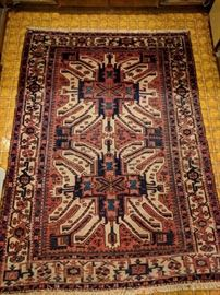 "Vintage Persian Heriz rug, hand woven, 100% wool face, measures 5'x 6' 9"".                                                                     LOVE!~"