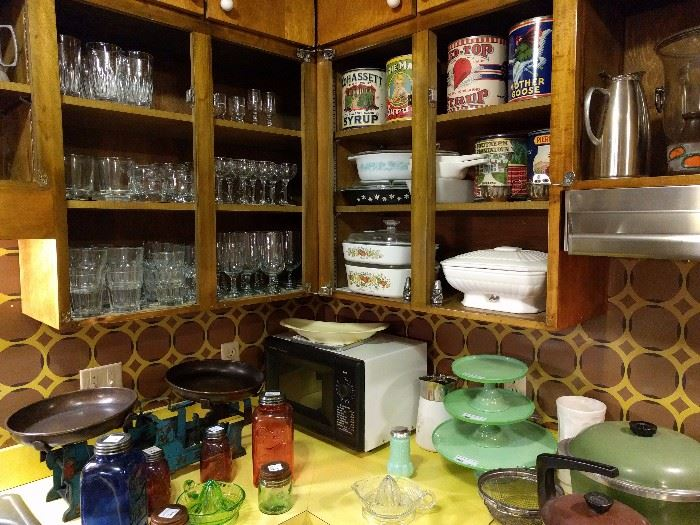 Jadeite, kitchen scales, colorful Mason jars, Corningware - oh my!