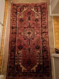 "Vintage Persian Kurdish Bijar runner, hand woven, 100% wool face, measures 3' 1"" x 6' 2""."