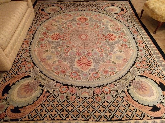 Fancy-schmancy Portuguese needlepoint rug, measure 10' x 12'.