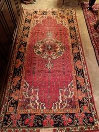 "Vintage Persian Ghom gallery runner, hand woven, 100% wool face, measures 4' 10"" x 10' 3""."