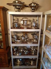 Ton's of freshly-shined silverplate servers, for the upcoming holidays!
